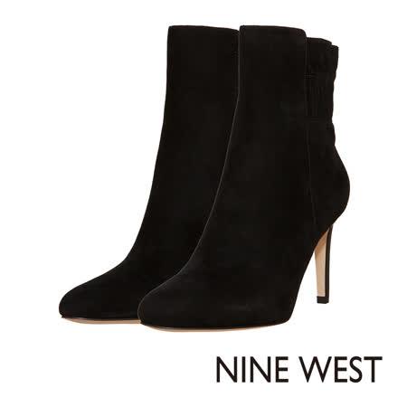 NINE WEST--俐落素面高跟中筒靴--麂皮黑
