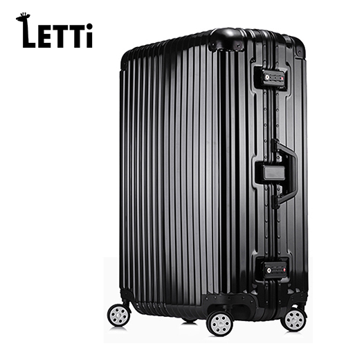 【LETTi】太空鋁行 28skylark 加州 風 洋食 館 台中吋PC鋁框鏡面行李箱-紳士黑