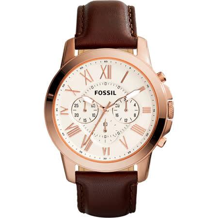 【私心大推】gohappyFOSSIL Grant 旗艦三眼計時復刻腕錶-銀x玫塊金框x咖啡/44mm FS4991價錢復興 sogo