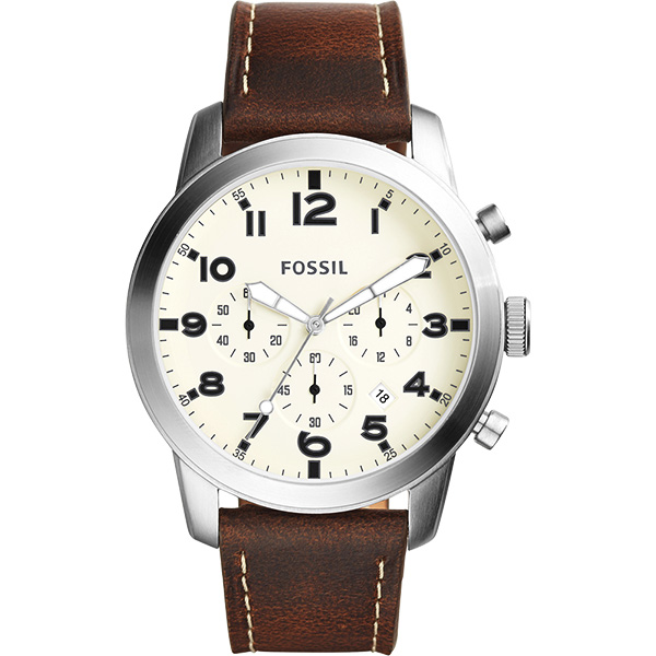 FOSSIL Pilot 飛行員 計時腕錶~米x咖啡44mm FS5146