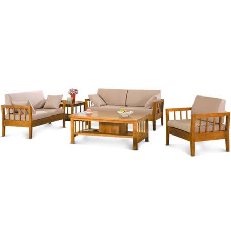 MY傢俬 自然和風簡約實木客廳5件組(沙發+茶几)