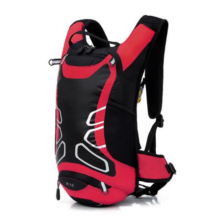 PUSH!登山戶外用品12L登山包背包騎行包自助旅行背包雙肩背包U40紅黑色