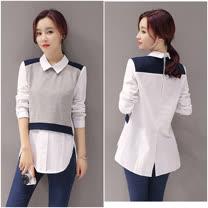 【韓系女衫】時尚單品 百搭修身假兩件式上衣