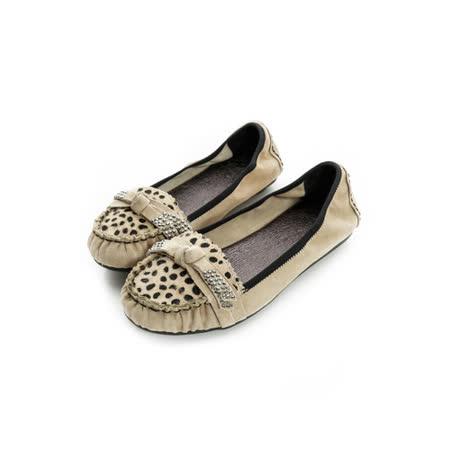 法國pierre cardin[20157-3]時尚馬毛水鑽樂福鞋-棕