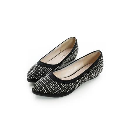 法國pierre cardin[20237-9]晶燦閃耀滿天星內增高淑女鞋-黑
