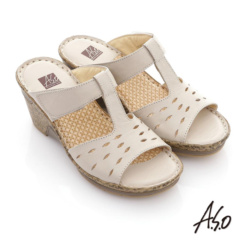【A.S.O】頂級氣墊 全真皮簍空奈米氣墊涼拖鞋(米)