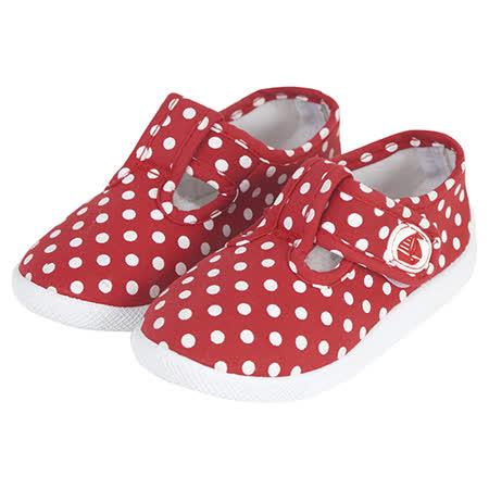 英國 JoJo Maman BeBe 嬰幼兒童帆布鞋/休閒鞋_紅白點點(JJCV1-006)