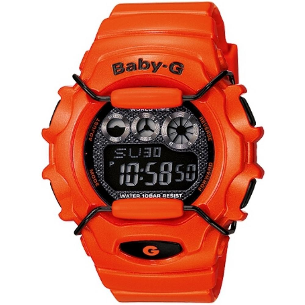 CASIO BABY~G Shocking Color大膽玩色彩系列女錶~橘紅