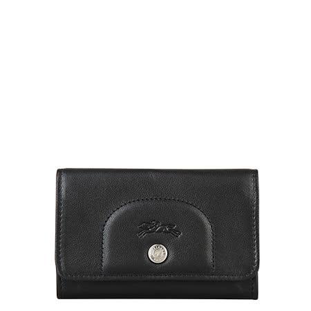 LONGCHAMP Le Pliage Cuir系列羊皮零錢卡片夾(黑)