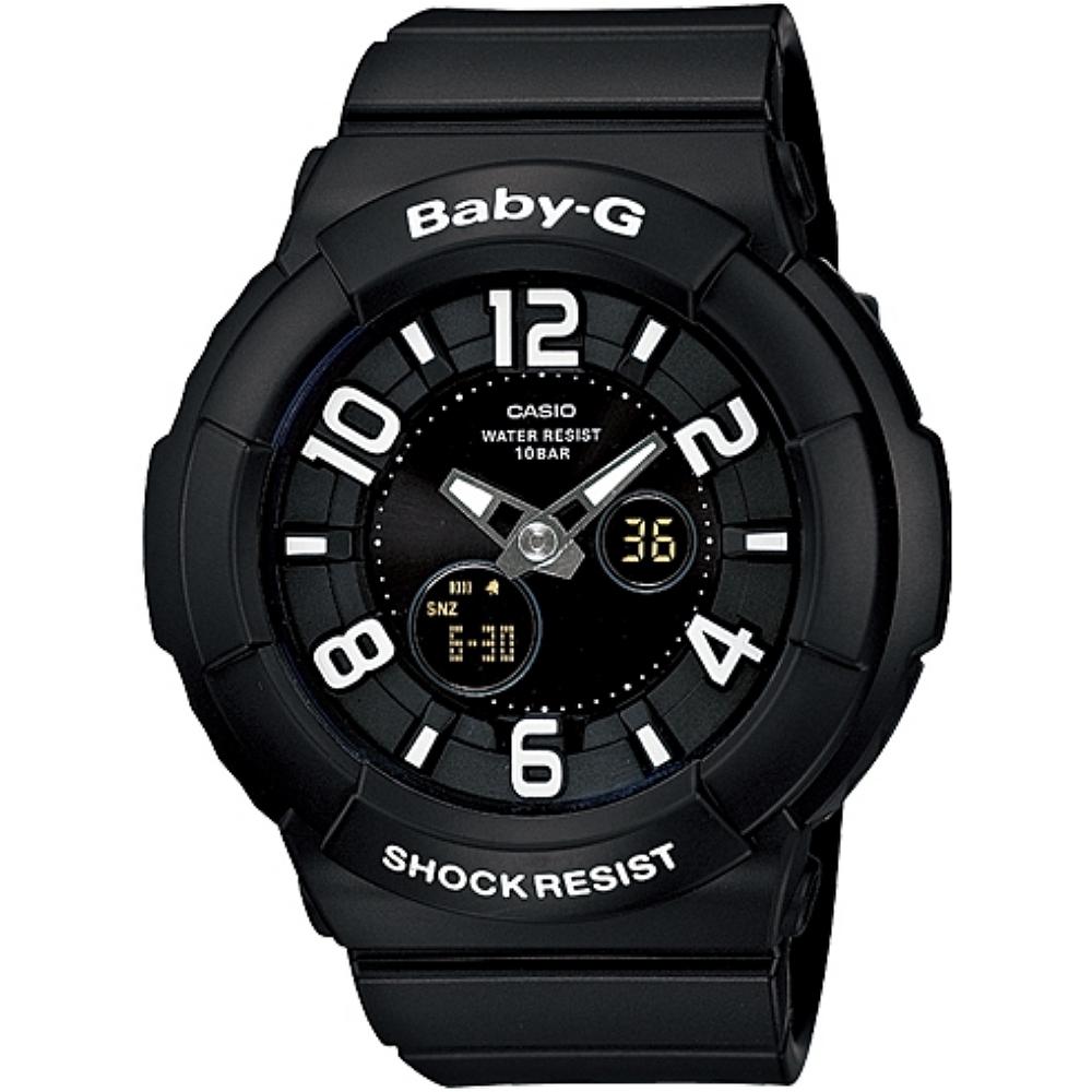 CASIO BABY~G BGA~132立體浮雕數字系列女錶~黑