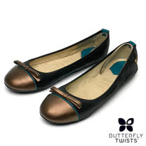 BUTTERFLY TWISTS-CARA可折疊扭轉芭蕾舞鞋-蛇紋經典黑