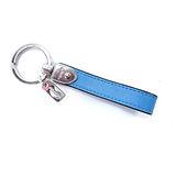 COACH 長條造型皮革鑰匙圈(附盒)(藍)