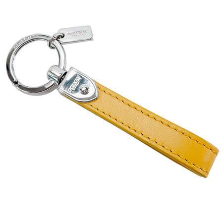 COACH 長條造型皮革鑰匙圈(附盒)(黃)