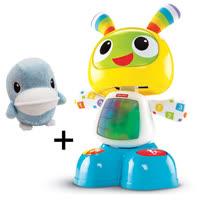 費雪牌 Fisher-Price 唱歌跳舞學習機器人小貝貝+酷咕鴨KU.KU.鈴鐺絨毛玩偶