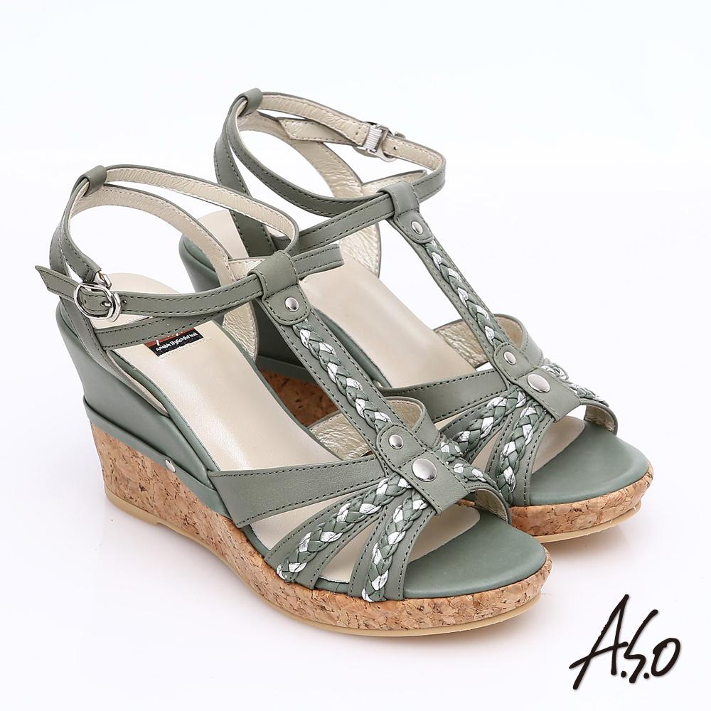 ~A.S.O~輕音躍 牛皮拼接雙色編織帶楔型涼鞋^(灰綠^)