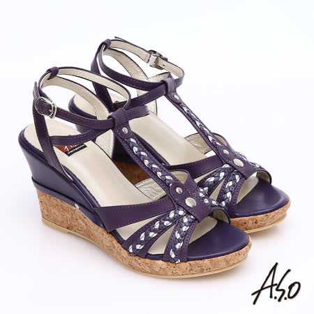 ~A.S.O~輕音躍 牛皮拼接雙色編織帶楔型涼鞋^(紫^)