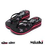 【Miaki】MIT 涼鞋韓水鑽花紋防滑厚底夾腳涼拖 (紅色 / 黑色)