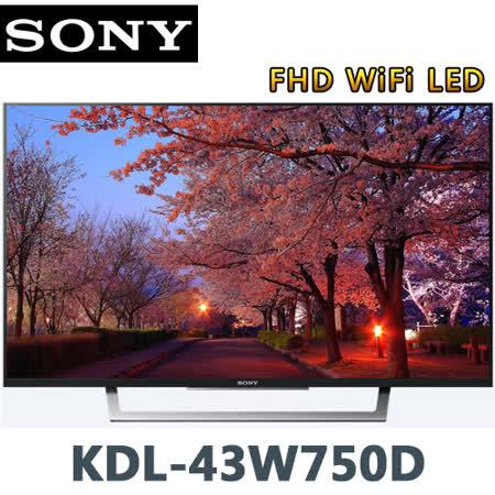 SONY索尼 43吋FHD WiFi LED液晶電視(KDL-43W750D)