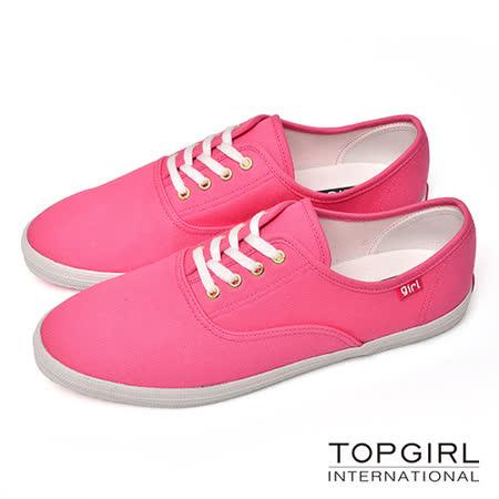 TOP GIRL-繽紛糖果帆布鞋-俏桃紅(品特)