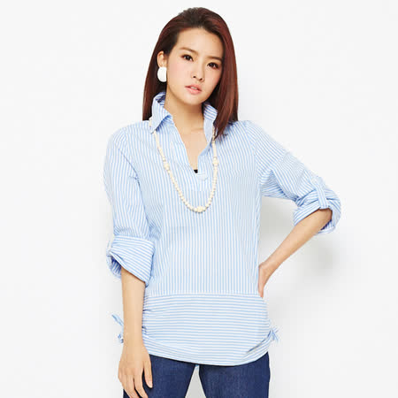 TOP GIRL-條紋V領七分袖長版襯衫-女-(藍)(品特)