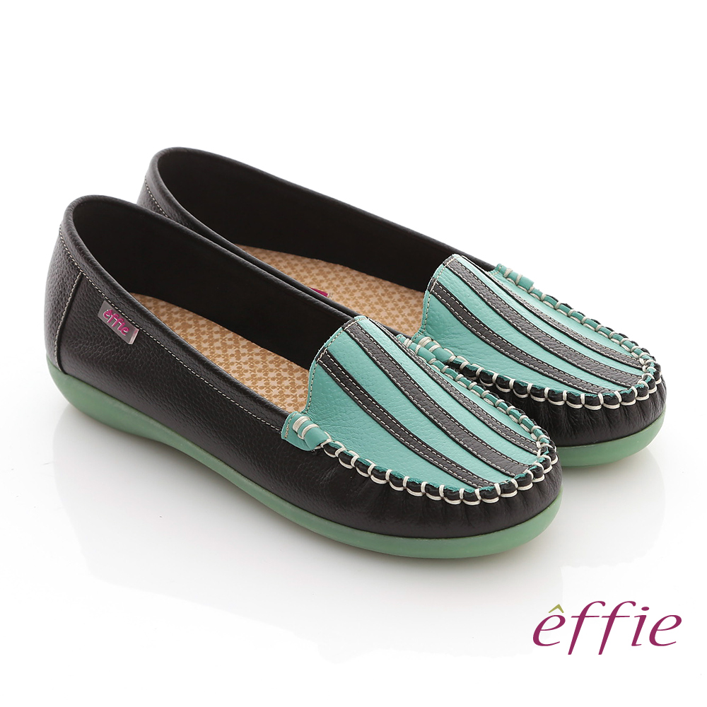 ~effie~縫線包仔鞋系列 全真皮手縫三線撞色休閒鞋^(黑^)