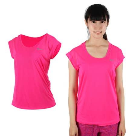 (女) NIKE 短袖針織衫 -T恤 短T 路跑 慢跑 螢光粉