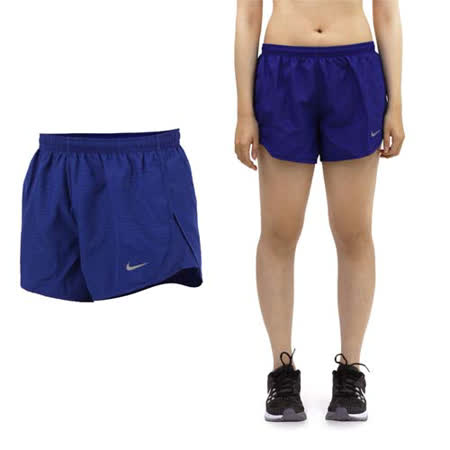 (女) NIKE 運動短褲 -梭織 慢跑 路跑 深藍銀