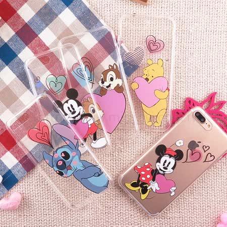 【Disney】迪士尼iPhone7 Plus5.5 愛心飛飛系列透明保護軟套_米奇/米妮/維尼/奇奇蒂蒂/史迪奇