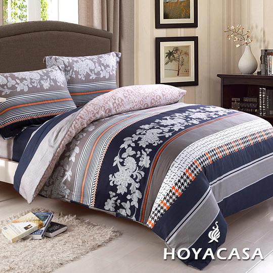 ~HOYACASA維娜風情~雙人四件式抗菌純棉兩用被床包組