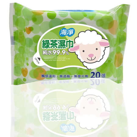 【任選】【海淨】綠茶濕巾20張-12入