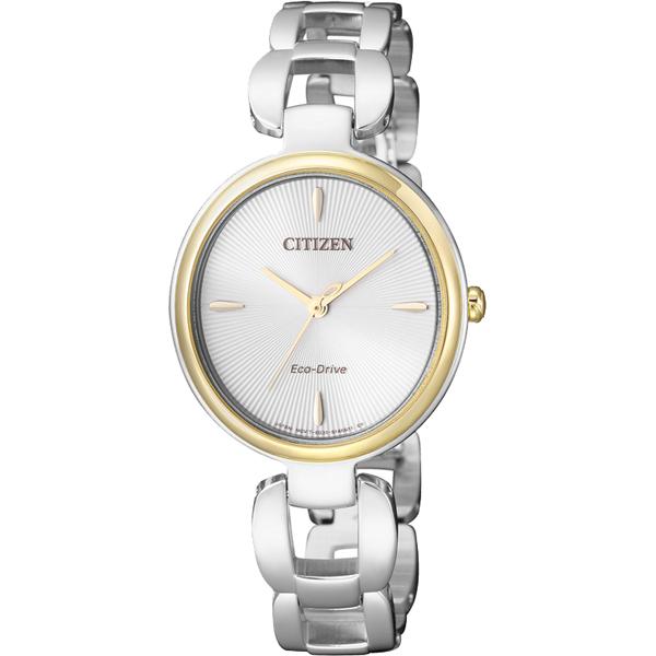 CITIZEN星辰 L系列 光動能手鍊錶~銀x金圈28mm EM0424~88A