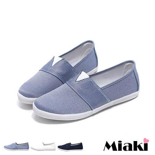 ~Miaki~MIT 休閒鞋韓V素色舒適平底懶人包鞋 ^(白色 黑色^)