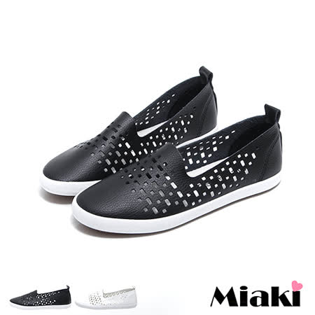 【Miaki】休閒鞋韓鏤空洞洞平底懶人包鞋 (白色 / 黑色)