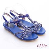 【effie】輕量樂活 絨面羊皮水鑽T字平底涼鞋(藍)