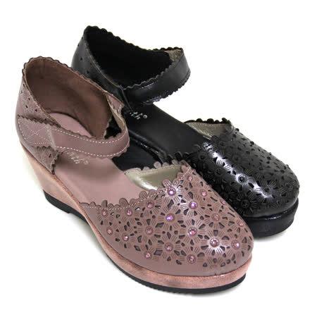 【GREEN PHOENIX】水鑽花邊沾黏式全真皮仿舊楔型瑪莉珍鞋