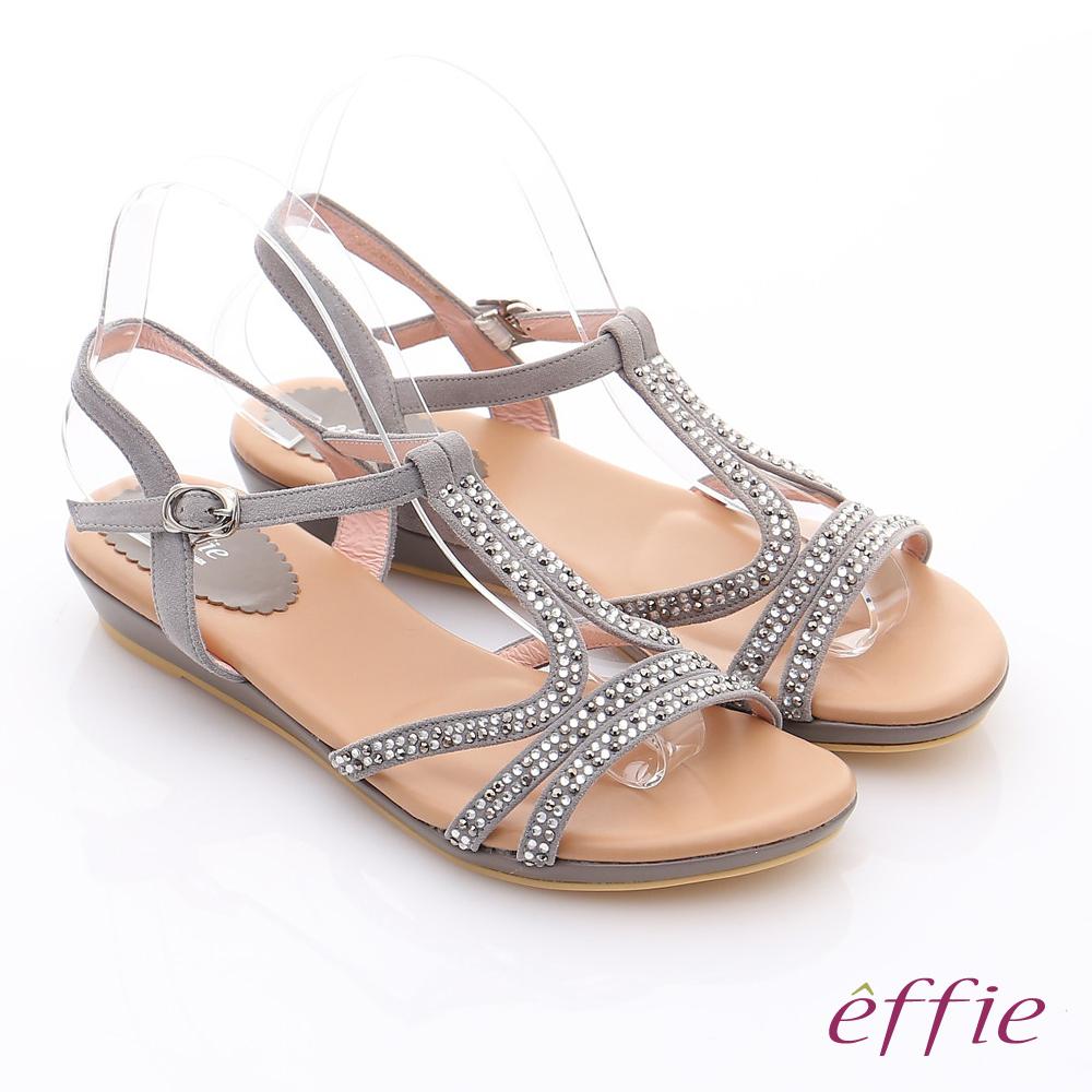 【effie】輕量樂活 絨面羊皮水鑽T字平底涼鞋(灰)