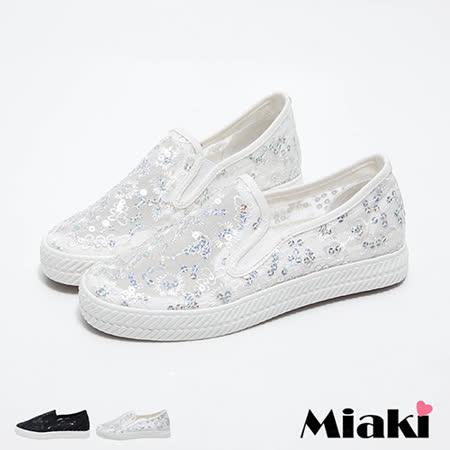 【Miaki】休閒鞋韓甜美花朵亮片透膚平底懶人包鞋 (白色 / 黑色)