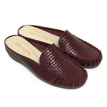 【GREEN PHOENIX】皮革編織壓紋全真皮小坡跟前包後空拖鞋