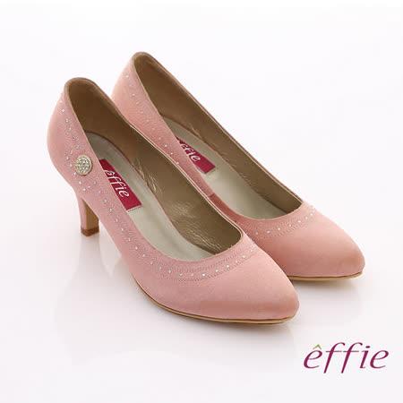 【effie】百年好合 絲光緞布水鑽飾扣中跟鞋(粉紅)