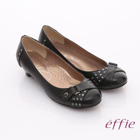 【effie】彈麗系列 柔軟羊皮鉚釘飾扣窩心低跟鞋(黑)