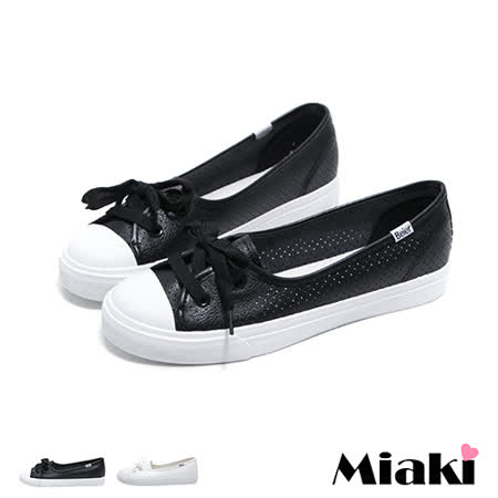 【Miaki】休閒鞋美式簡約透氣洞洞平底懶人包鞋 (白色 / 黑色/ 灰色)