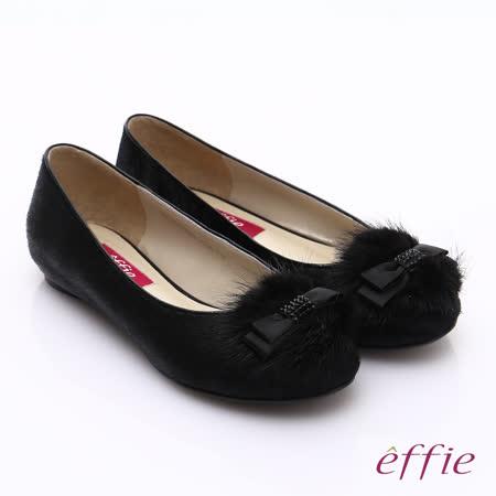 【effie】森林狂想 豹紋印花立體結飾平底鞋(黑)