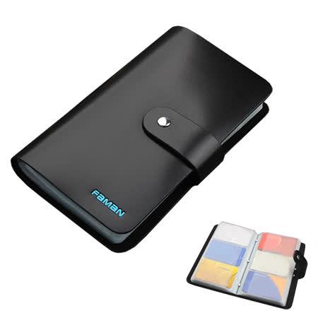PUSH!精品皮件90卡位真牛皮信用卡夾信用卡包名片夾保護皮套PUSH17淨面黑色