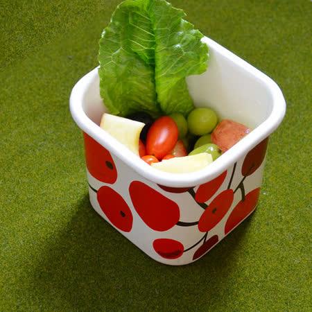 【Homely Zakka】小紅莓附蓋琺瑯盒儲物罐/輕食便當盒/烤盤烤皿(1000ml方罐)