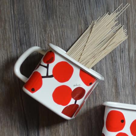 【Homely Zakka】小紅莓附蓋琺瑯盒儲物罐/輕食便當盒/烤盤烤皿(1450ml手把方罐)