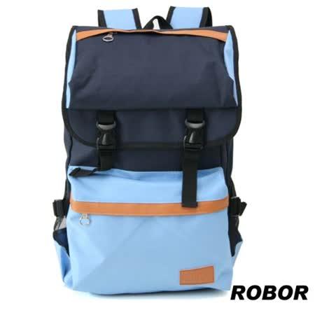 韓系型男 ROBOR時尚潮流大口袋筆電後背包/旅行袋(深淺藍)