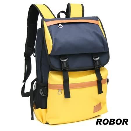 韓系型男ROBOR時尚潮流大口袋筆電後背包/旅行袋(藍黃)