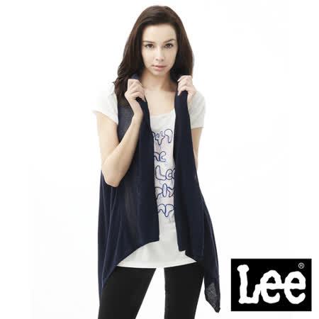 Lee 無袖背心外套 長版針織-女款(藍)