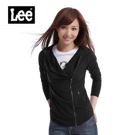 【Lee】創新經典 Modern Rider 都市騎士 騎士風附帽棉外套-女款(黑)