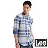 Lee 格紋長袖襯衫-男款(藍)